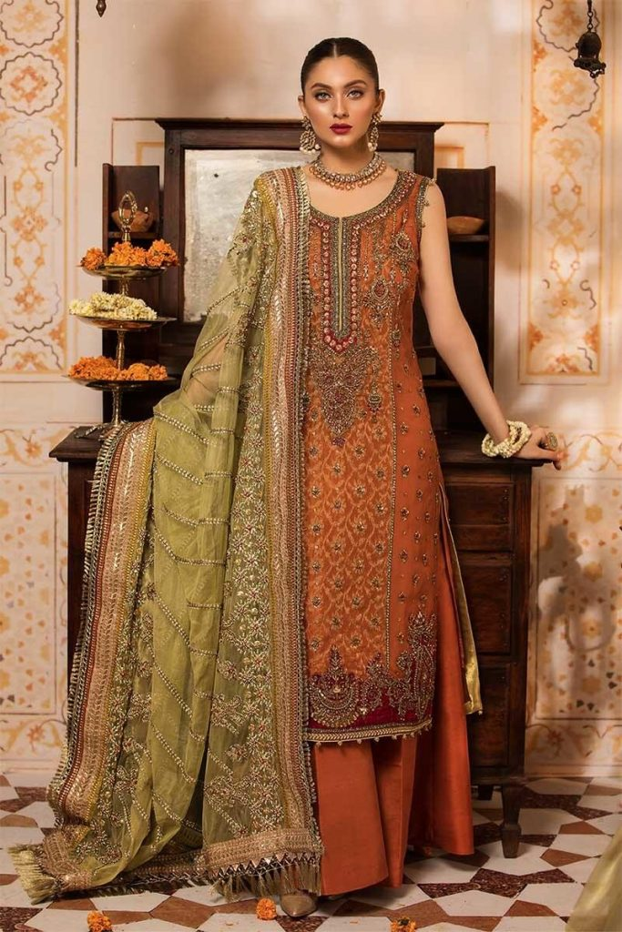 latest Maria B mehndi dresses