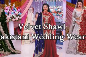 velvet shawl pakistani wedding wear