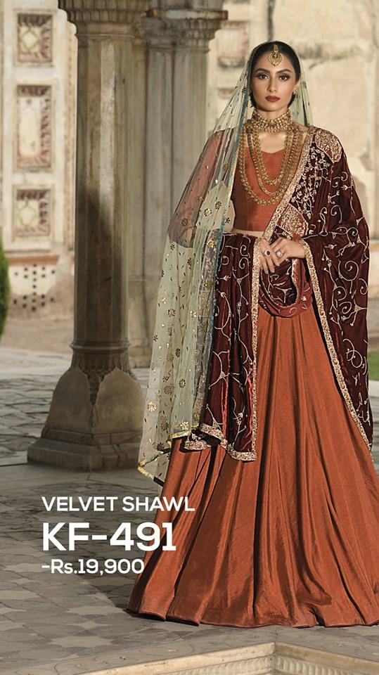nishat linen bridal shawl