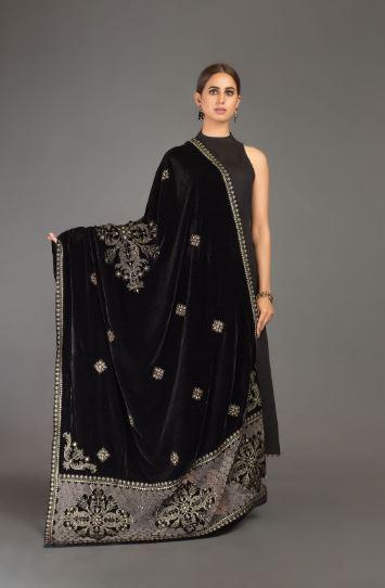 black bareeze velvet shawl
