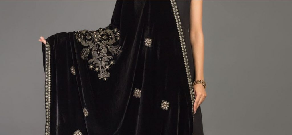 embroidered black bareeze shawl