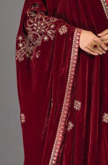 red embellished bareeze shawl