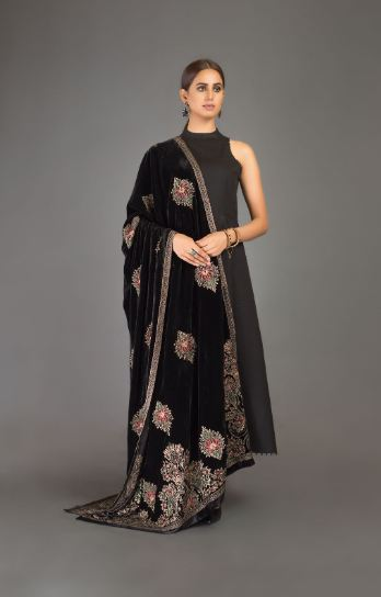 embroidered black velvet shawl bareeze
