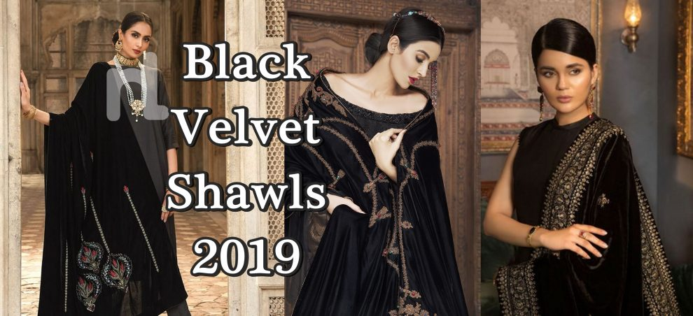 velvet black shawl