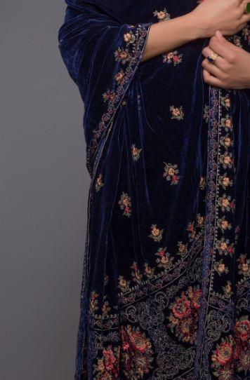 blue velvet shawl bareeze