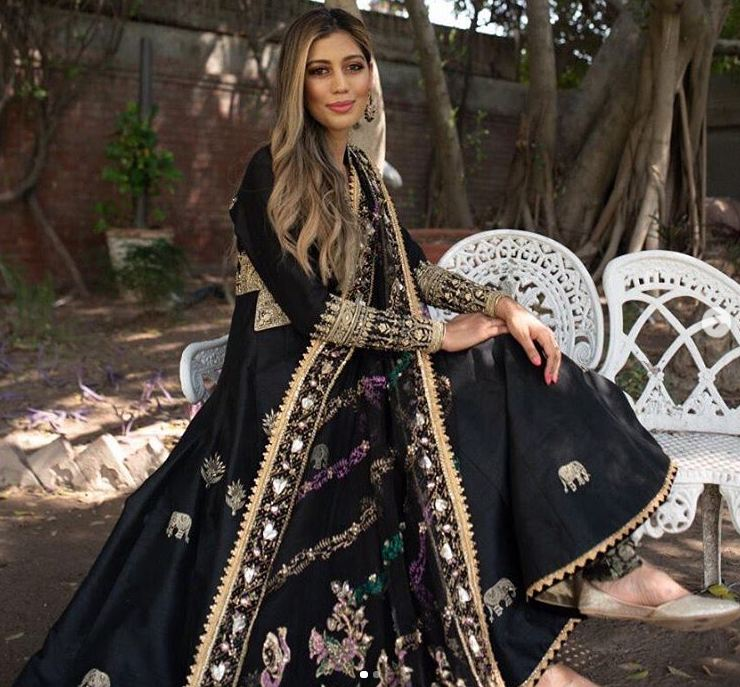 embroidered black bridal shawl