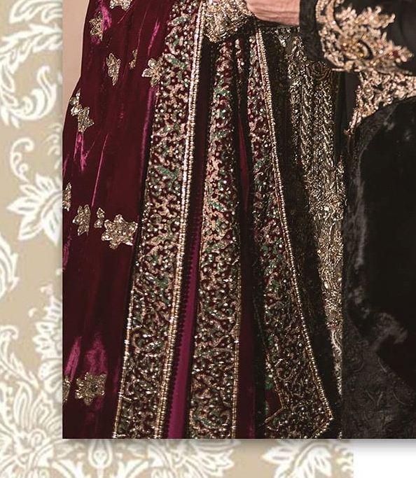 Maroon Bridal Velvet Shawls