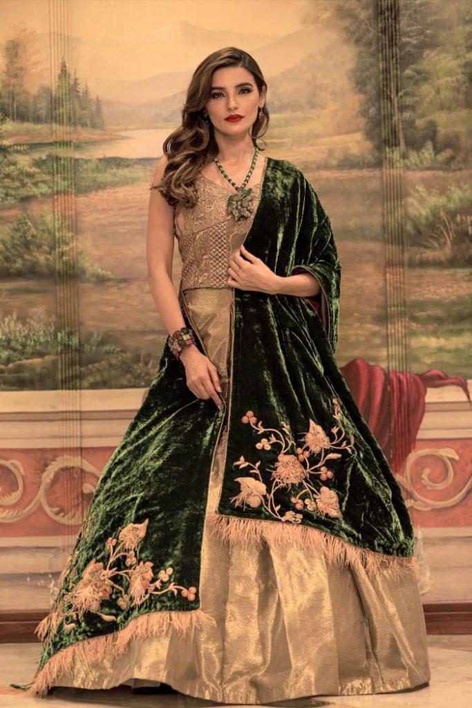 bridal green shawl