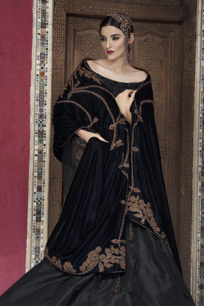 nilofer shahid bridal velvet shawls