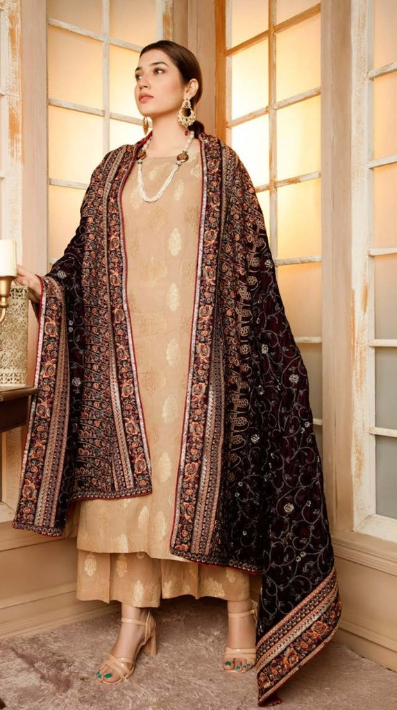 banarasi suit with velvet shawl