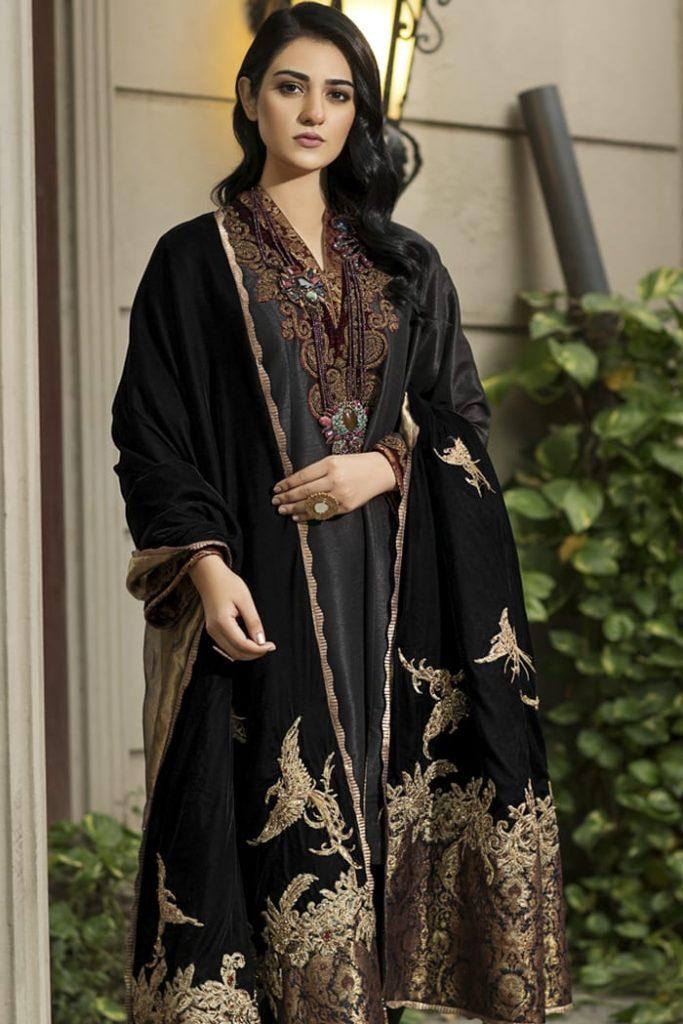 black color velvet shawl
