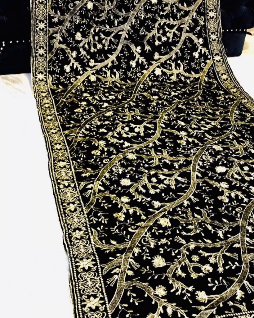 embroidered black velvet shawl