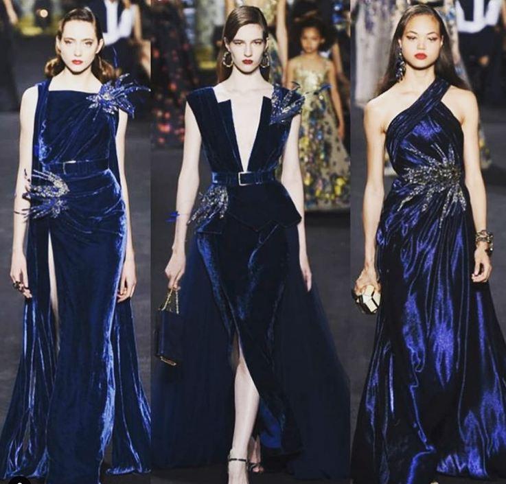 Western Velvet Maxi Dress Blue