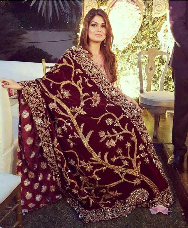 maroon velvet bridal shawl