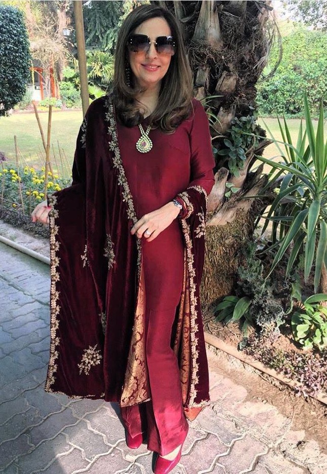silk suit with velvet shawl