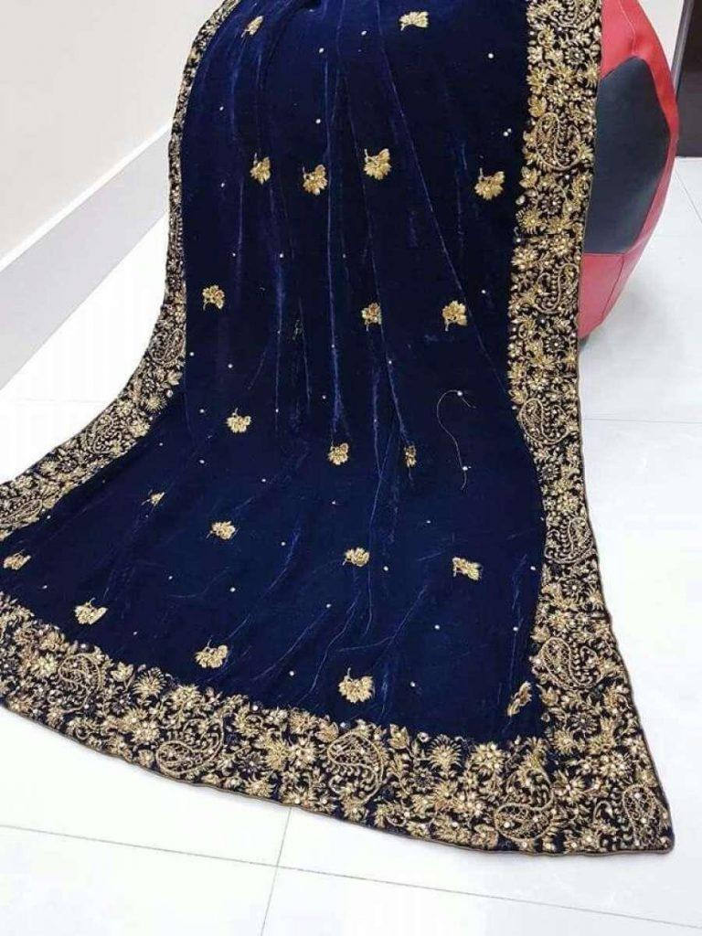 blue bridal velvet shawls