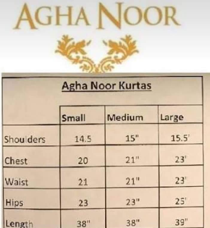 Agha noor Size chart