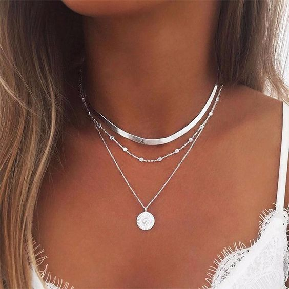 womens silver choker necklace