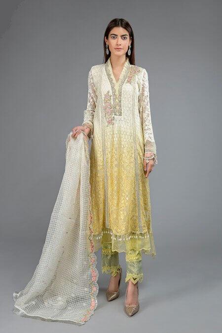 Yellow and White Pakistani Dresses