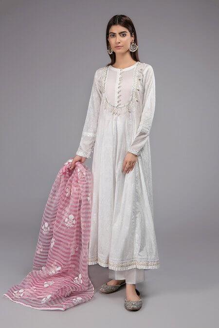 White Color Combination Dress
