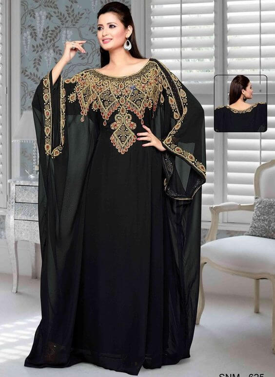 black and gold kaftan dress