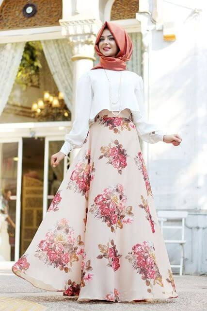 floral print long skirt dress ideas
