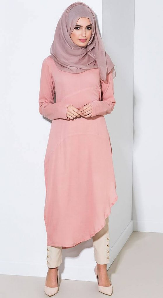 pink color long kurti with hijab