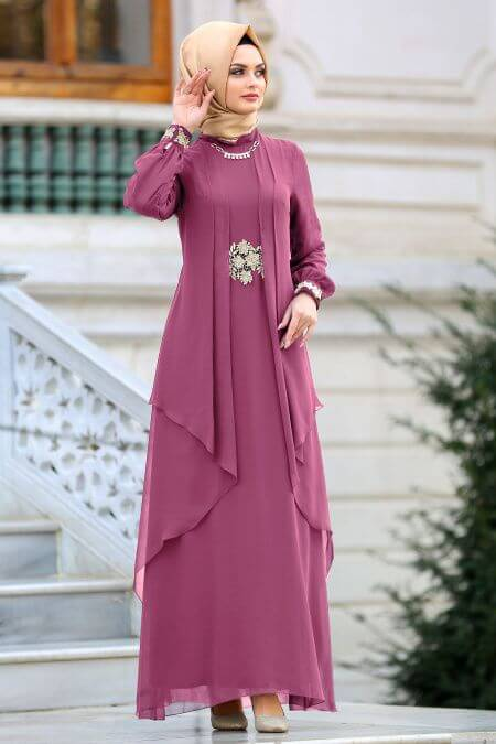 purple and skin combination dress for islamic girl