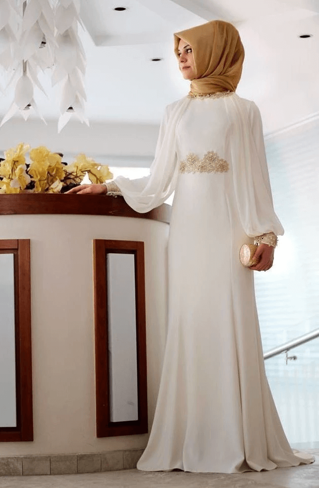 white hijab style gown for ladies