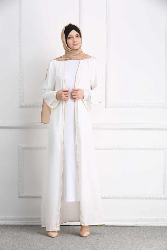 plain white long cardigan for islamic ladies