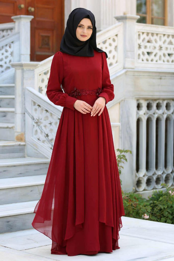 red party gown with black hijab
