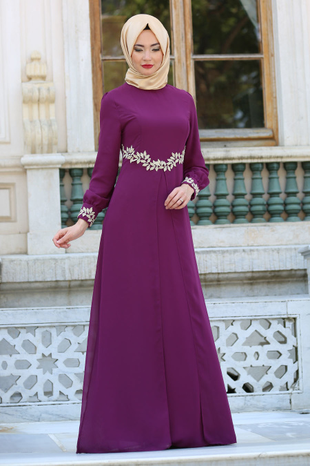 purple and gold evening gowns with hijab