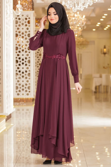 maroon and black islamic party dresses