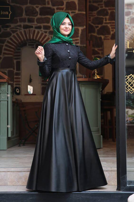 black and green long skirt ideas