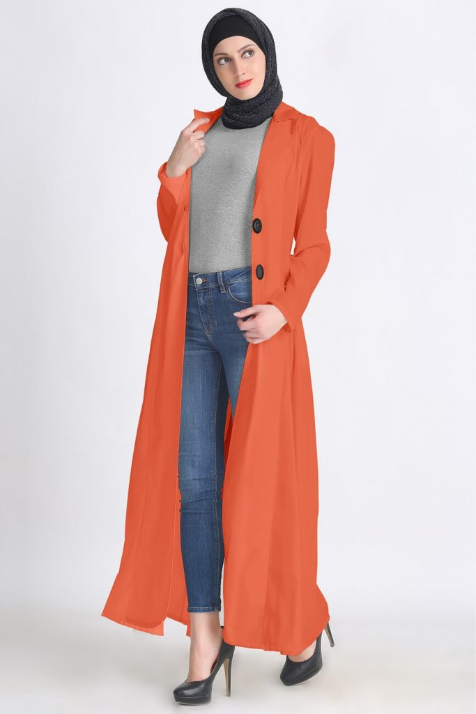 long trench coats with hijab and jeans
