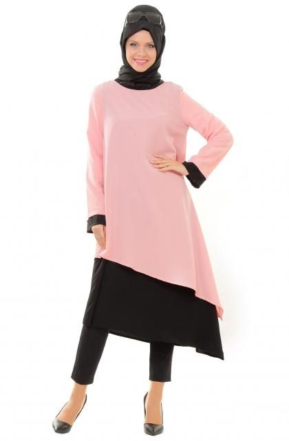 pink and black hijab outfit ideas