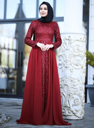 red velvet maxi dress with black hijab
