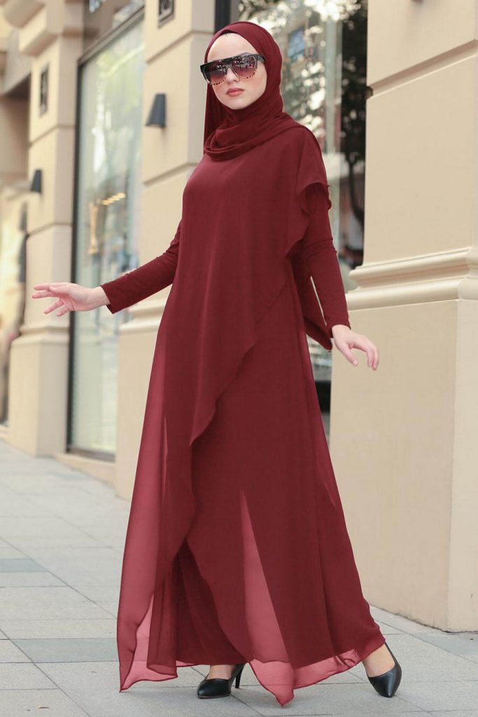 maroon party jumpsuit with hijab