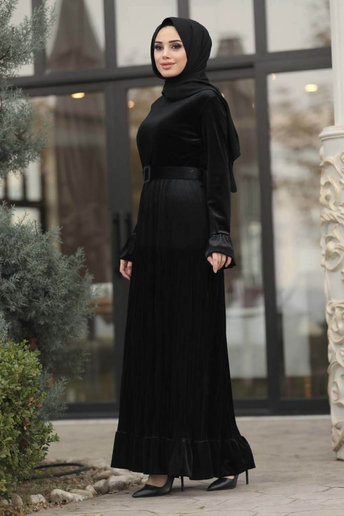black velvet maxi dress with hijab