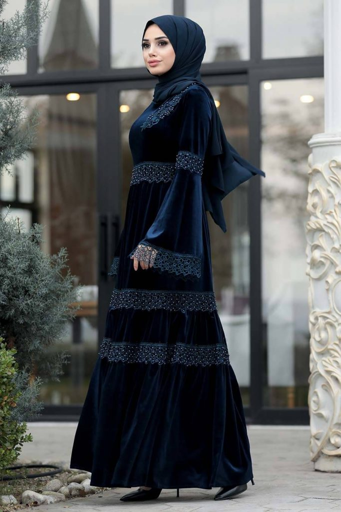 blue velvet maxi dress for party with hijab