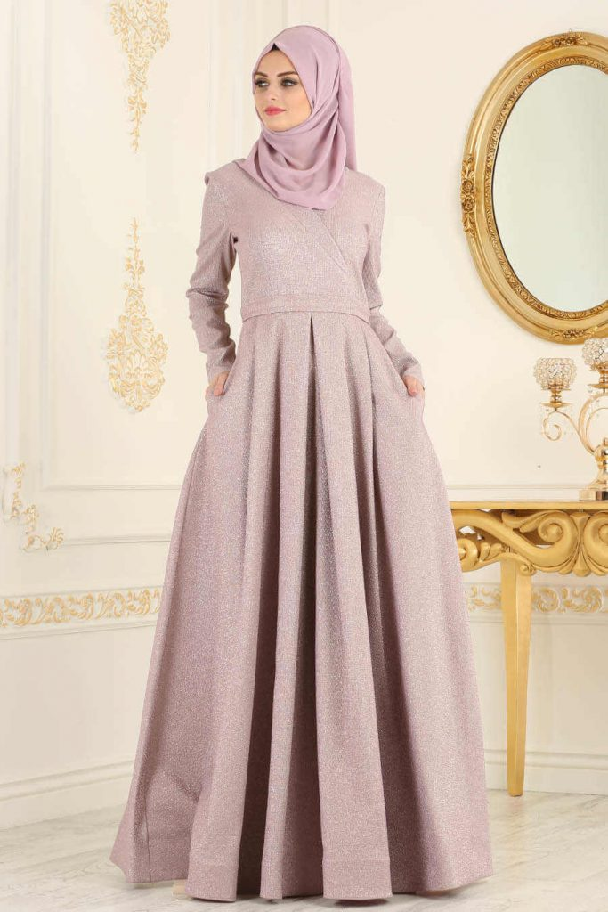 pleated maxi dress for islamic girl