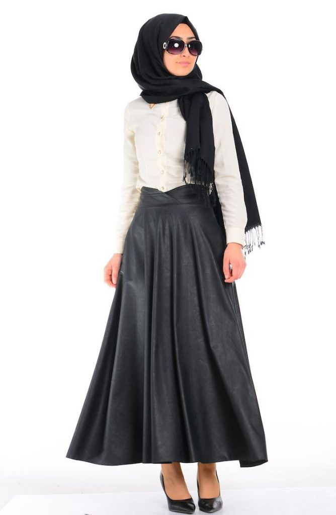 long leather skirt fashion with hijab
