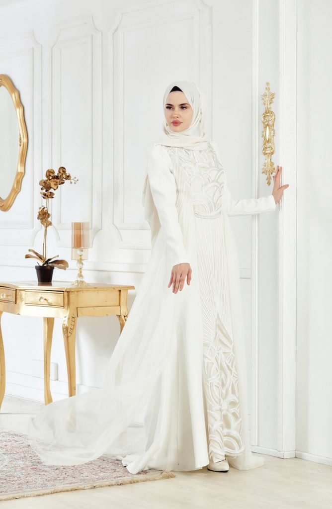 white party dress with white hijab