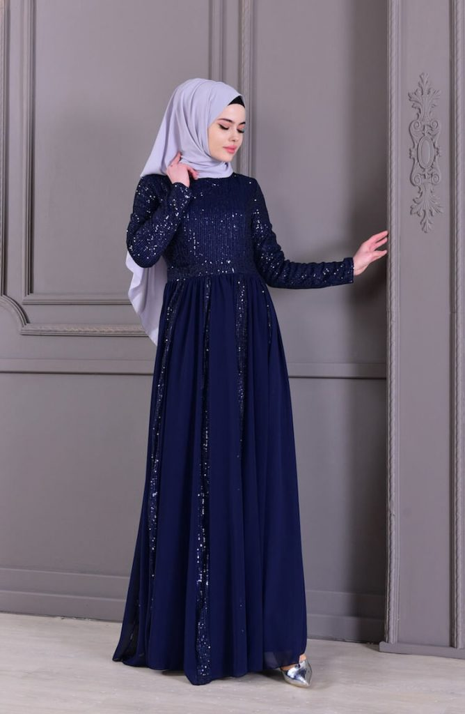 blue sequence work dresses for islamic events