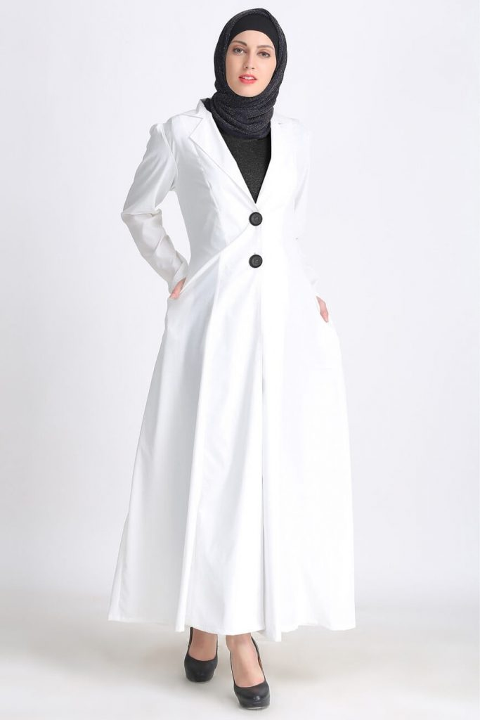 white and black long trench coat