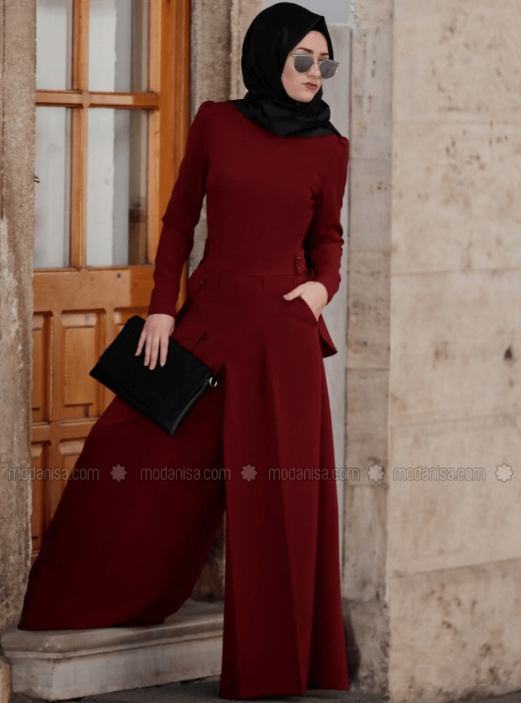 red jumpsuit with black hijab